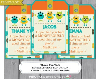 Monster Birthday Party Thank You Tags - Monster Thank You - Monster Party Thank You Tag - Instant Download & Personalize in Adobe Reader