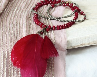 Jade and Red Feather Necklace - Red Boho Statement Necklace - Long Gemstone and Feather Necklace