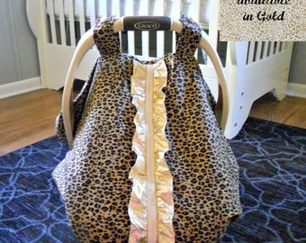 Cool 100% Cotton Baby Car Seat Canopy Cover Couture Ruffle Cheetah (fitted), FREE MONOGRAMMING