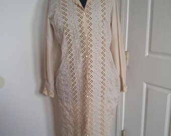 PRICE REDUCED Vintage Lee Mar eyelet lace cream shirt dress.
