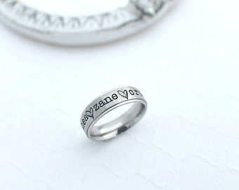 Name Ring - Personalized Ring - Hand Stamped Jewelry - Personalized Jewelry - Stamped Ring - Name Ring - Stainless Steel Mother's Day Gift