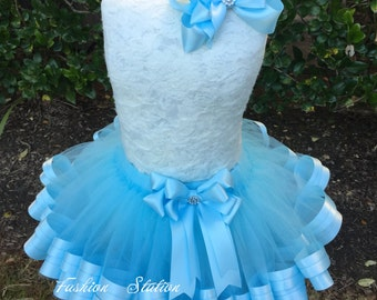 Baby Blue Satin Ribbon Tutu~~~Ribbon Trimmed TuTu ~~~With Free Hair Bow  ~~27 Solid Colors available~~~