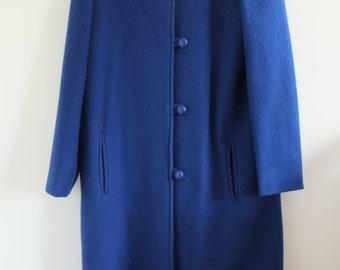 Vintage blue wool midi collarless coat size 12