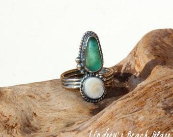 Hawaiian Kauai Rare Teal Beach Glass with Operculum (Shiva's Eye) Set in 925 Sterling Silver Handcrafted Ring - Size 5