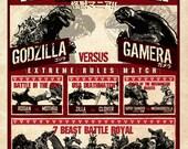 Kaijumania!! Wrestling poster Art Print - kaiju, godzilla, gamera, pacific rim, monsters, fight, japanese, cloverfield