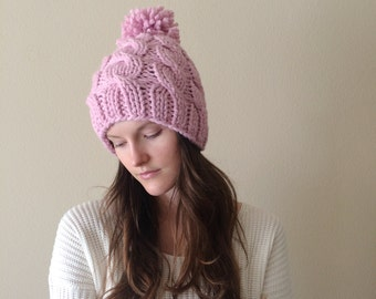 Pink Chunky Cable Knit Beanie Hat with Pom-Pom   Pink Blossom   Valentine's Day   Wool Yarn