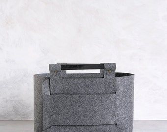 Felt Storage Bin - Gray Storage Basket - Felt Storage Box - Gray Home Decor - Minimalist Home Decor SB-05
