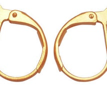 s00245g - 10 pairs, gold plated leverback earring findings about 10mm wide, 15mm long, hole: 1mm
