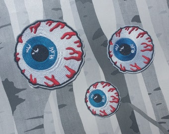Bloodshot Eyeball Embroidered Patch Applique Very Gothic Emo Punk