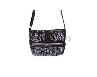 Elephant Cross-Body HMONG Bag Fabric Adjustable Strap (BG850B)
