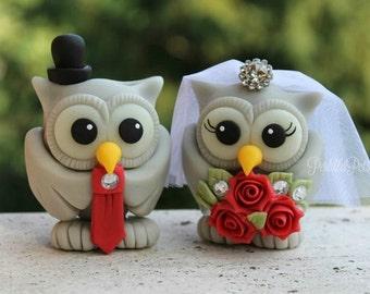 Custom wedding owl cake topper, red wedding, love birds with banner