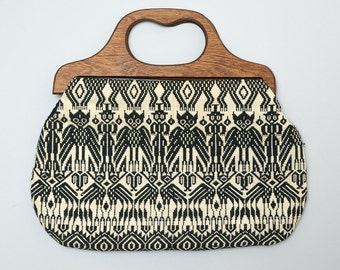 Vintage Guatemalan Purse Black and White Hand Woven Wood Handle Hand Bag