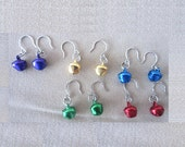 Christmas Colorful Metal Jingle Bell Earrings, Handmade Original Fashion Jewelry, Small Simple Festival Holiday Girls Teens Ladies Gift