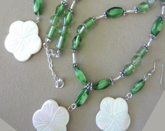 Handcrafted Lime Green Glass Bead & Etched Mother of Pearl Flower Jewelry Set, Handmade Original Fashion Jewelry, Eye Catching Ladies Gift