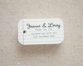 School Themed Loose Leaf design Personalized gift tags - Custom Wedding Favor Tags Label - Thank you tags - Set of 40 (Item code: J217)
