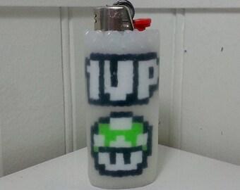 1up Mushroom Perler Bead LIGHTER CASE - nintendo - super mario - pipe