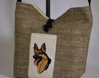 Dog Lover German Shepherd Cross Stitch Shoulder Bag