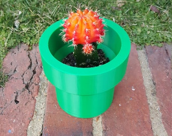 Mario Bros. inspired Plumber Pipe Planter 3D Printed Indoor Outdoor Planter