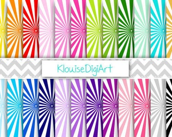 Rainbow and Pastel Sunburst Starburst Printable Digital Paper Pack for Personal and Small Commercial Use (0220)