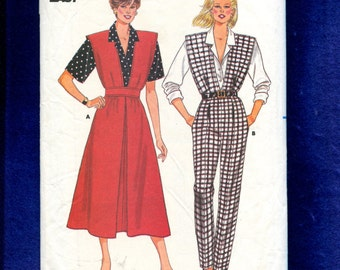 Vintage 1986 Butterick 3943 Jumper Jumpsuit with a Deep V Neck  Bodice with Extended Shoulder & Shirt Sizes 8-10-12 UNCUT