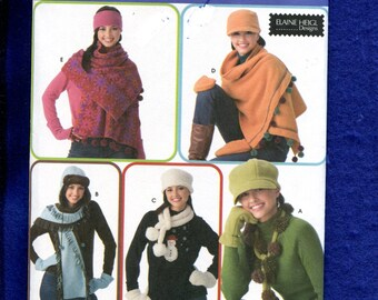Simplicity 3942 Warm & Cozy Winter Hats Scarves Mittens and Shawl UNCUT