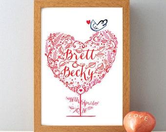 Personalised Wedding Name & Date Gift Print, Anniversary Gift Print