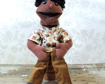 Plush Hand Puppet doll, soft, moving mouth, boy, girl, teenager, sesame street style, African American