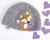Fox Baby Hat   Crochet Girl Hat wit Felt Appliqué   Personalized Baby Fox Hat   sizes Baby to Teen
