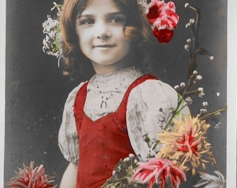 French Postcard, Original, Vintage RPPC Postcard, Real Photo Postcard, Hand Tinted Postcard,Young French Girl with Flowers, Serie 100