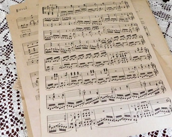 Vintage Sheet Music Pages for Crafts -Twenty Sheets, Confetti, Scrapbooking, Collage, Altered Art, Ephemera early 1900s