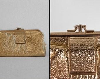 Metallic Gold Clutch 1960s Sparkly Glittery Multi Pocket Sci Fi Mod Look