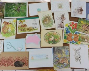 60 Piece Lot Vintage Bunny Rabbit Greeting Cards