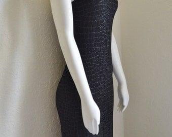 Vintage Cache Maxi Dress Black with Metallic Silver Print Sheath Slit Long Sexy XS Small Straps