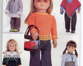 18 Inch Doll Clothes Dress Parka Sweater Poncho Top And Pants Sewing Pattern 2000 Butterick 6855