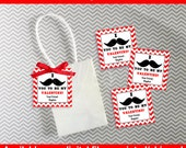 Personalized Valentine Tags - Mustache Favor Tags - Valentines Day Favor Tags - Mustache Valentine Gift Tags - Digital and Printed