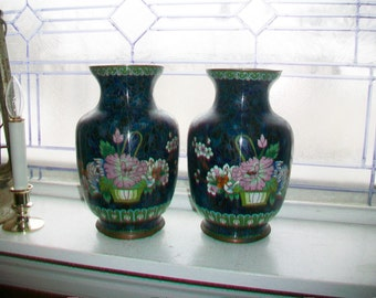 Pair of Large Chinese Cloisonne Vases 9 Inches Antique Enamel On Copper