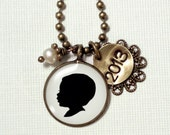Large size Custom Brass Silhouette Pendant Necklace with Stamped tag & pearl