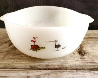 B.C. Comics Anchor Hocking Milk Glass Bowl - BC Comic Strip Bowl -  Milkglass Comic Characters