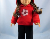 18 Inch Doll Clothes - Soccer Ball Hoodie and Sweatpants -  Fits American Girl Dolls - Red and Black