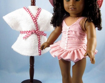 Doll Swim Set - Swimsuit, Cover-up and Hat for 18 Inch Doll - Doll Beach Set - fits American Girl Dolls - Pink Swim Set