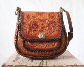 hand tooled saddle bag/1970's