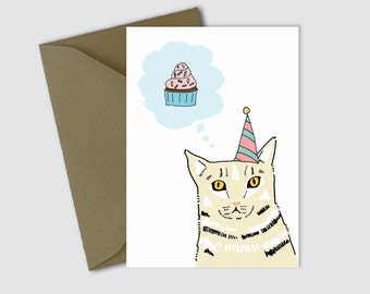 Printable cat birthday card - downloadable cat birthday card - cat and cupcake download birthday card - print your own cat birthday card