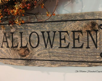 happy halloween sign primitive rustic farmhouse october trick or treat orange fall decor weathered barn wood - Rustic Halloween Decorations