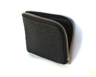 Black Ostrich Leather Coin Purse