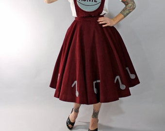 1950s Vintage Skirt...Fall Fashion Maroon Corduroy Novelty 50s Cheerleading Uniform Circle Skirt Detachable Overall Bib Size Small