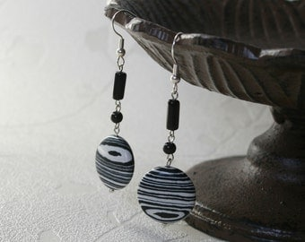 Zebra earrings, elegant earrings , black and white, stripe earrings, agate earrings, gemstone earrings