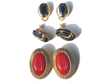 Vintage Set of Three Clip on Earring Pairs - Gold Black Red