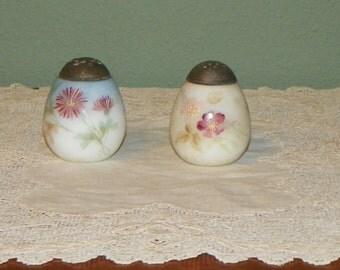 Antique Mt Washington salt Pair Shakers salt pepper Egg Flower Opalware Hand Painted Opal Glass opaline