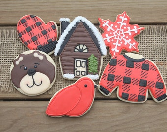 Cabin Party Favors / Buffalo Check Gifts / Buffalo Plaid Gifts / Mountain Cabin Decorations / Cabin Gifts / Cabin Sugar Cookies - 12 cookies