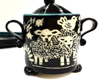 Sgraffito SUGAR, CREAMER & TRAY Set, Hand Built, With Sheep, Pigs, Chickens and Bunnies / Rabbits, Folk Lore Inspired, Hand Carved